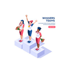 winner podium banner vector image