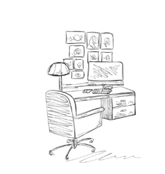 Work place sketch Hand drawn table and chair vector image