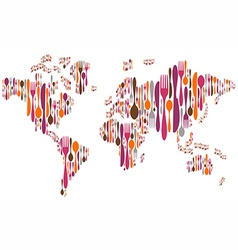 World made with cutlery colors silhouettes vector