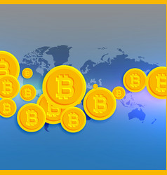 world map with floating bitcoins symbols vector image