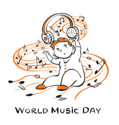 world music day concept background hand drawn vector image