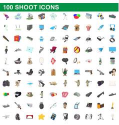 100 shoot icons set cartoon style vector image vector image