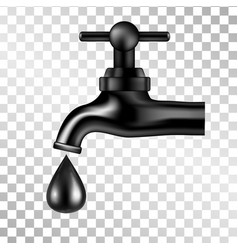 black tap with oil drop on transparent background vector image