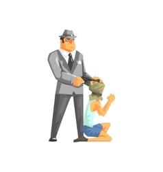 Mafioso holdin a handgun against the hostage head vector