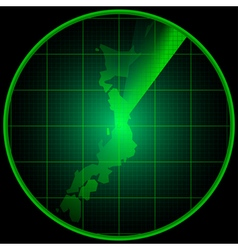 Radar screen with the silhouette of Japan vector image vector image