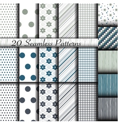 Set of 20 classic seamless patterns vector image vector image
