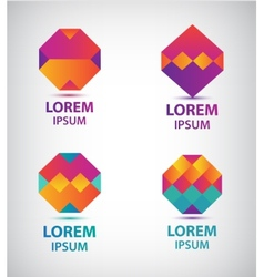 set of abstract colorful geometric logos vector image