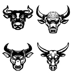set of hand drawn bull heads on white background vector image vector image