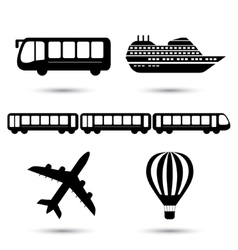 black transport icons vector image vector image