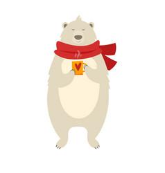 christmas polar bear with cup vector image vector image