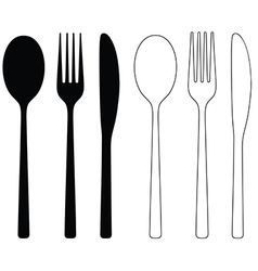 Cutlery Icon Black Silhouettes vector image