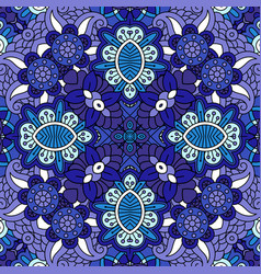 decorative blue floral ornamental pattern vector image
