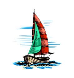 sailing yacht in color vector image vector image