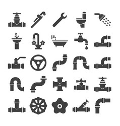 sanitary engeneering valve pipe plumbing vector image