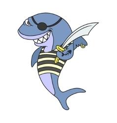 Cartoon pirate shark vector image vector image