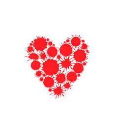 red paint splash heart vector image vector image
