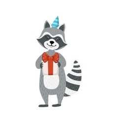 Cute Raccoon Character In Party Hat Holding A vector image vector image