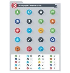 Flat webpage elements icon set vector image vector image