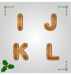Gingerbread font i to l vector image