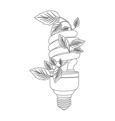 Grayscale contour with spiral fluorescent bulb vector
