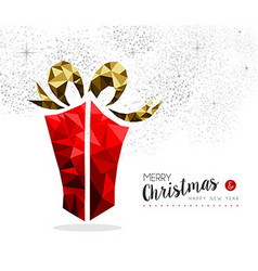 Red gift box for christmas season greeting card vector image vector image