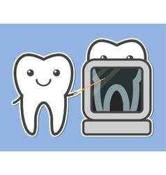 Two teeth demonstrated X-ray vector image
