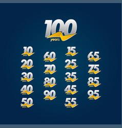 100 years anniversary celebration white blue vector