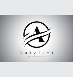 a letter logo design with circle swoosh border vector image