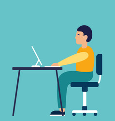 a stylish man sitting at the table and working on vector image