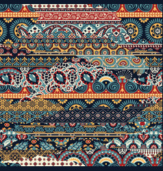 abstract arabesque paisley fabric patchwork vector image