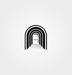 abstract door logo in hallway curve letter n vector image