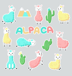 Alpaca stickers hand drawn vector