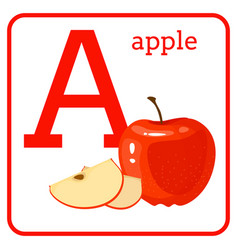 An alphabet with cute fruits letter a apple vector