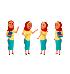 arab muslim teen girl poses set pretty vector image