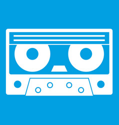 audio cassette tape icon white vector image