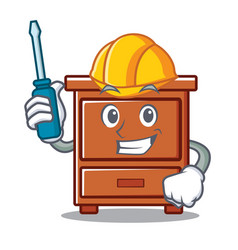 Automotive wooden drawer mascot cartoon vector