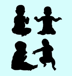 babies action silhouette vector image