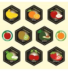 Badge Fruit Set of Natural Fresh GMO free vector