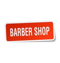 Barber shop square sticker on white vector