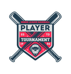 Baseball minor league vintage label vector