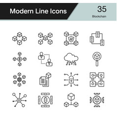 blockchain icons modern line design set 35 for vector image