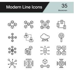 blockchain icons modern line design set 35 vector image