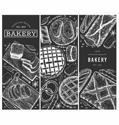 bread and pastry banners set bakery hand drawn on vector image