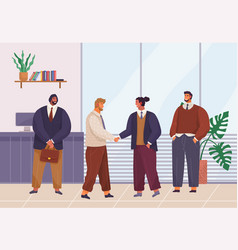 business meeting office room male partners shake vector image
