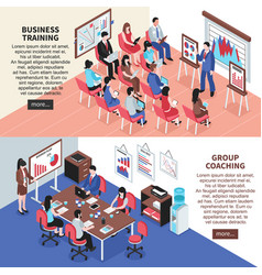 Business training and group coaching banners vector