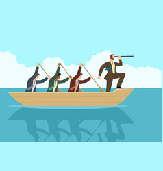 Businessmen rowing boat vector