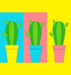 cactus icon in flower pot icon set minimal flat vector image