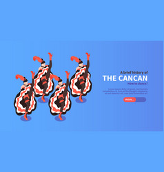 Cancan isometric horizontal banner vector