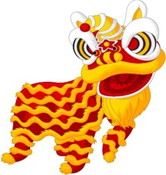 Cartoon chine lion mascot vector