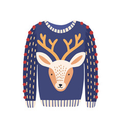 cartoon ugly christmas sweater with deer head vector image